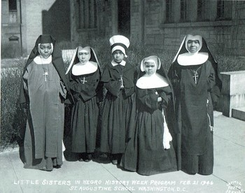 Black and white 1946 file photo of students at St. Augustine School led by the Oblate Sisters of Providence