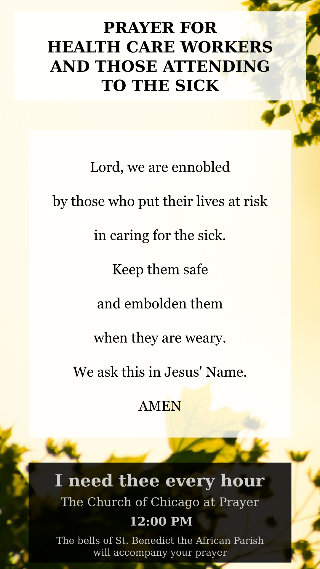 Prayer card for health care workers and those attending to the sick