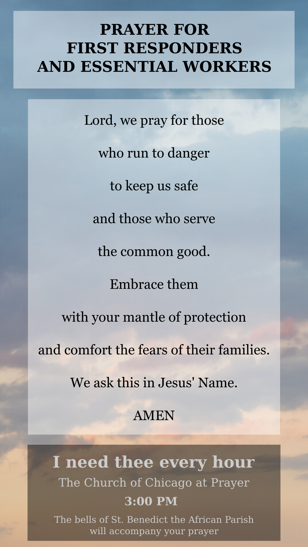 Prayer card for first responders and essential workers