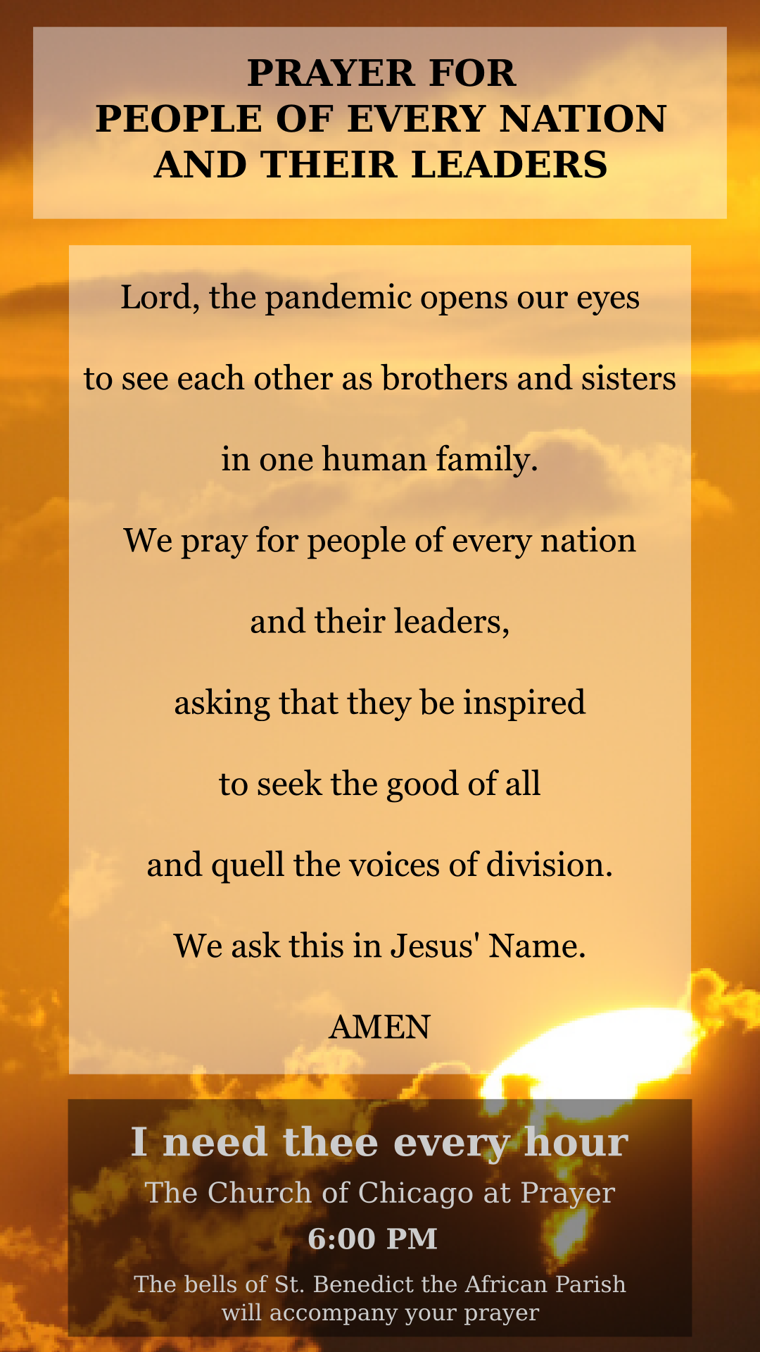 Prayer card for people of every nation and their leaders