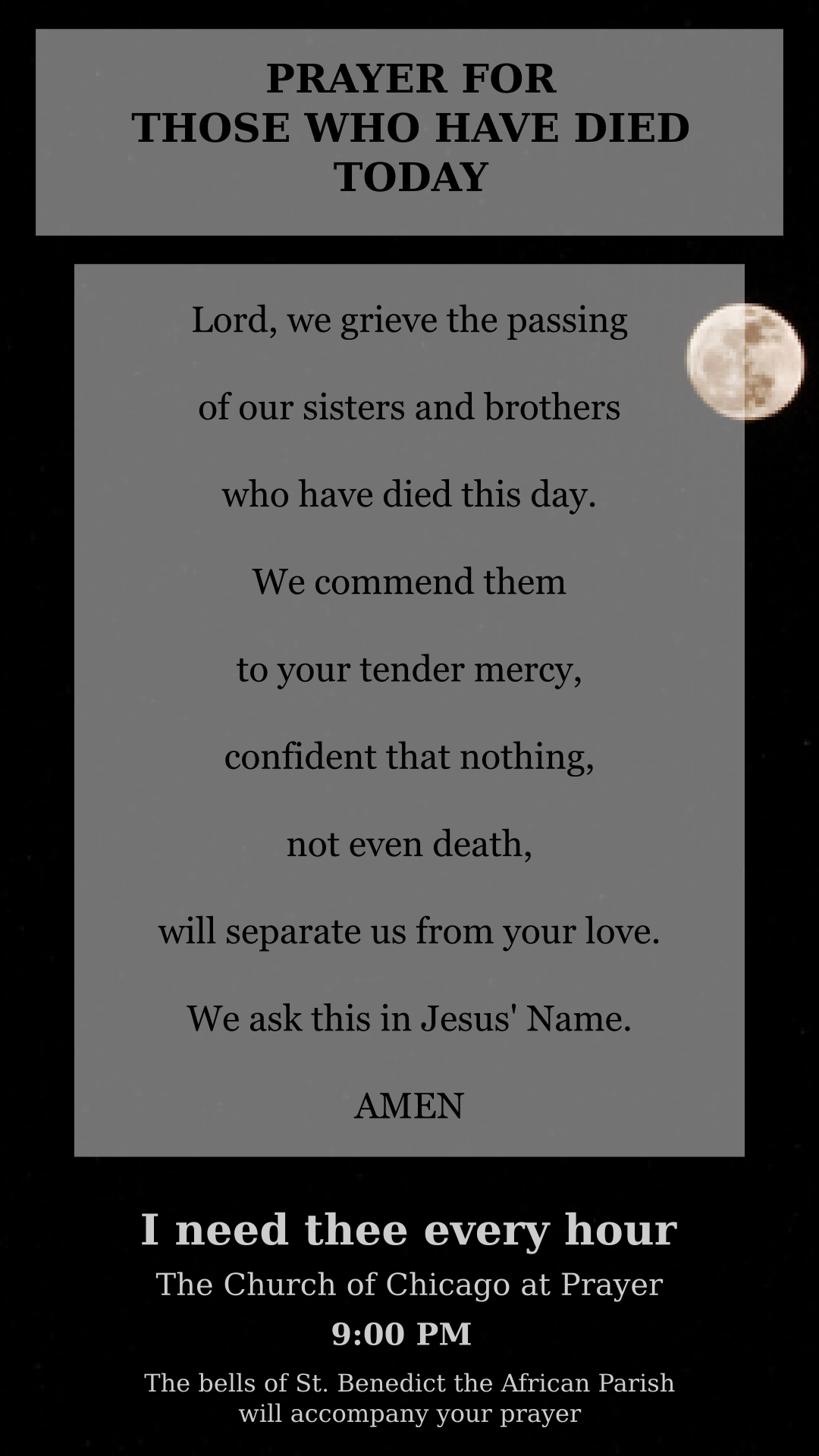 Prayer card for those who have died today
