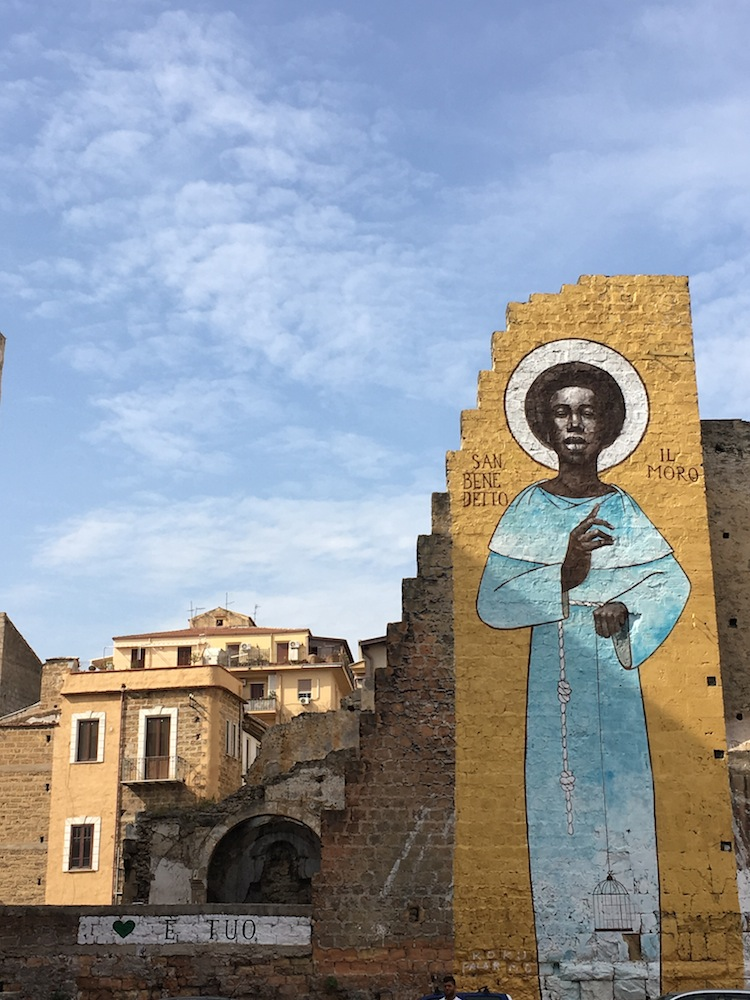 Saint Benedict the African building mural at Palermo Sicily, Italy.