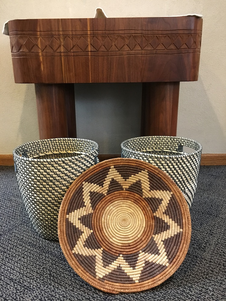 African style baskets used for the tithe collection during mass.