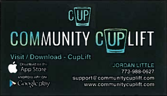 Community Cuplift business card with contact information