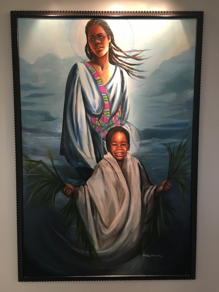 Painting of Mary and the child Jesus by Jan Spivey-Gilchrist