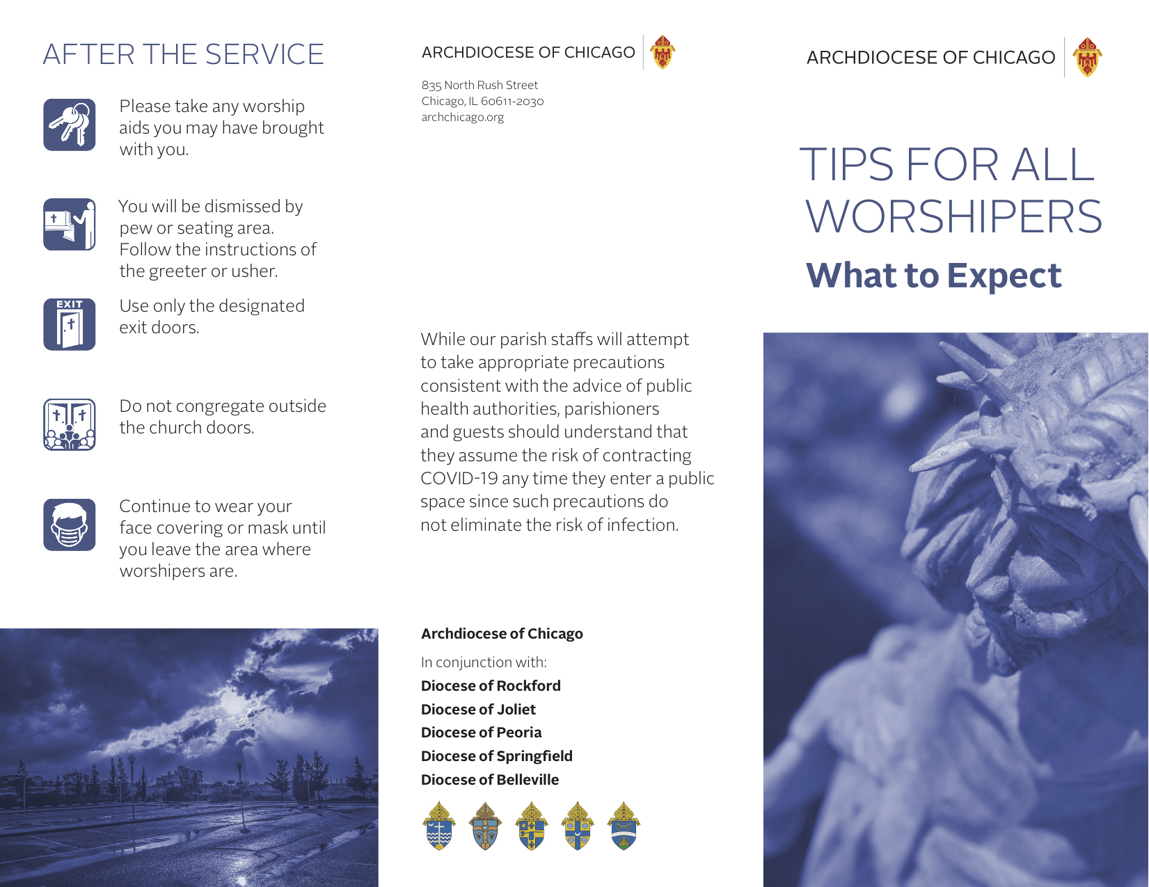 pamphlet from Archdiocese of Chicago on tips for parishioners returning to church