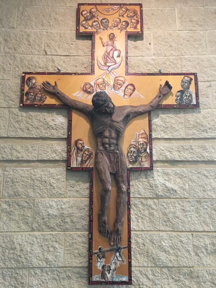 Crucifix shaped and modeled after the San Damiano cross with African American figures.
