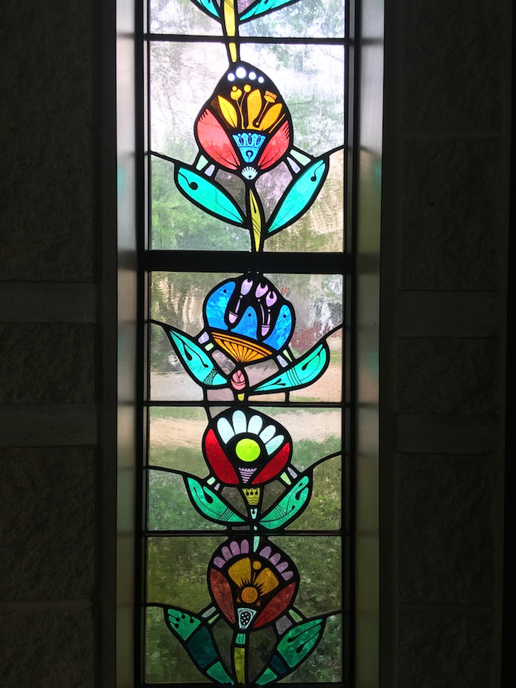 stained glass window of flowers