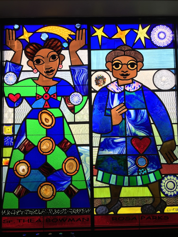 Stained glass window of Harriet Tubman and Sojourner Truth.